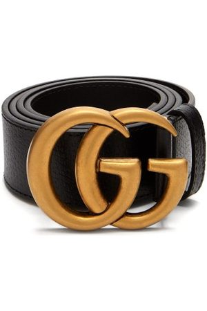 Gucci Gg Textured Leather Belt - Mens