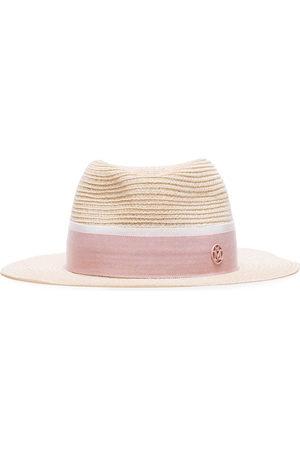 Le Mont St Michel Women Hats - Pink logo embellished straw hat