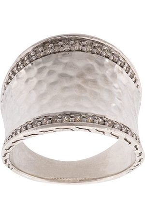 John Hardy Classic Chain hammered saddle diamond ring