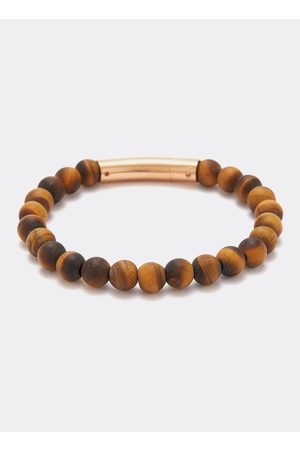Tateossian Men Bracelets - Tiger eye bead 18k rose gold silver bracelet