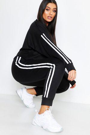 Boohoo Plus Side Stripe Sweat And Jogger Set