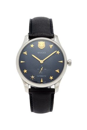 Gucci G Timeless Leather Automatic Movement Watch - Mens - Navy