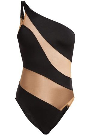 Norma Kamali Mio One-shoulder Mesh Panelled Swimsuit - Womens - Nude