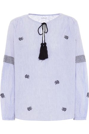 Velvet Women Shirts - Aimee embroidered cotton top