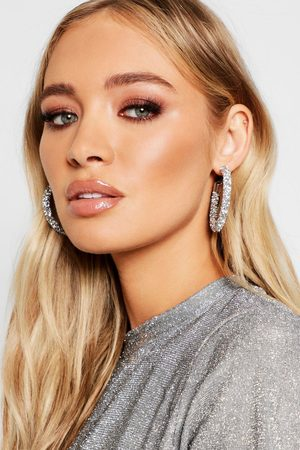 Boohoo Diamante Cluster Hoop Earrings