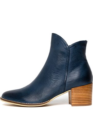 Django & Juliette Mockas Navy Boots Womens Shoes Casual Ankle Boots