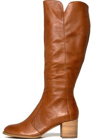 Django & Juliette Sleddly Cognac Boots Womens Shoes Long Boots