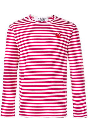 Comme des Garçons Men Sweatshirts - Heart patch striped sweatshirt