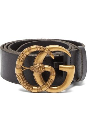 Gucci Gg Snake Buckle Leather Belt - Mens