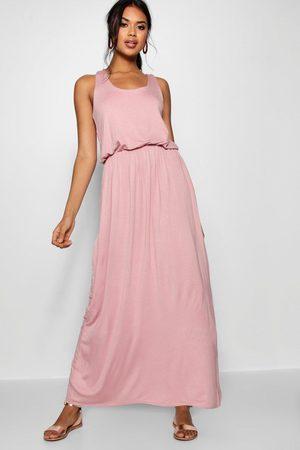 Boohoo Racer Back Maxi Dress- Antique Rose