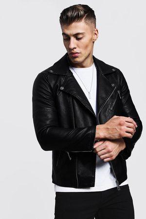 Boohoo Mens Faux Leather Biker Jacket