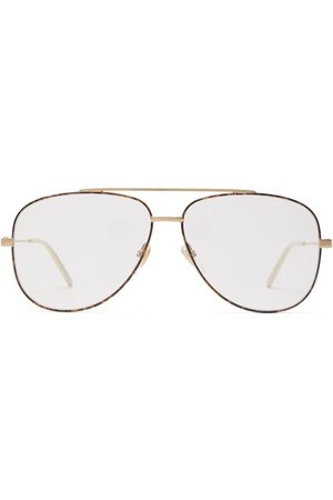 Gucci Tortoiseshell-effect Aviator-frame Glasses - Mens