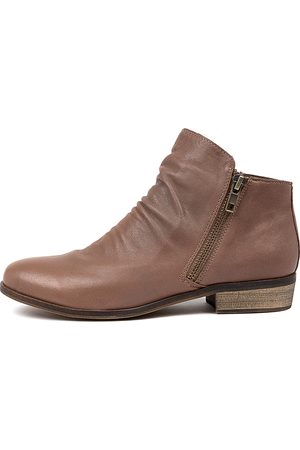 Django & Juliette Women Ankle Boots - Split Taupe Boots Womens Shoes Casual Ankle Boots