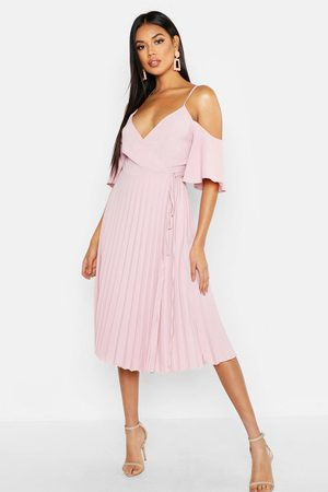 Boohoo Women Party Dresses - Woven Cold Shoulder Pleated Midi Skater Dress
