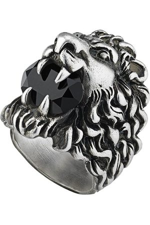 Gucci Men Rings - Lion head ring with crystal