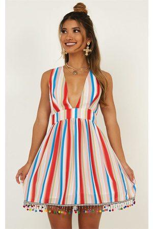 SHOWPO Surrender To The Night Dress in rainbow stripe
