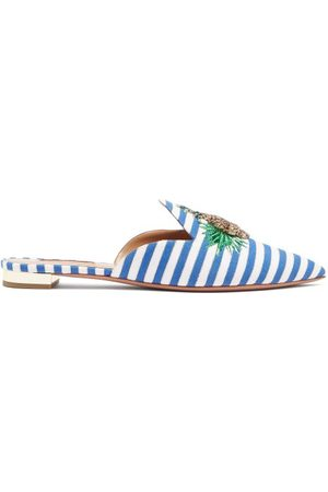 Aquazzura Pineapple Crystal Embellished Striped Mules - Womens