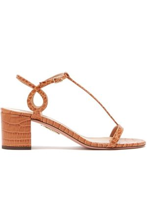 Aquazzura Almost Bare 50 Crocodile Embossed Leather Sandals - Womens - Tan