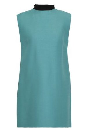 Valentino Women Mini Dresses - Woman Two-tone Wool And Silk-blend Crepe Mini Dress Teal Size 42