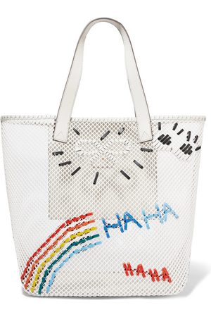 Anya Hindmarch Women Tote Bags - Leather-trimmed Embroidered Mesh Tote - Off
