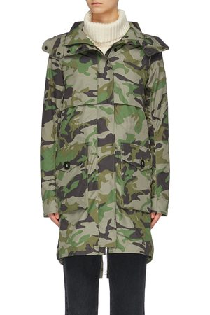 Canada Goose Cavalry' detachable hood camouflage print windproof trench coat