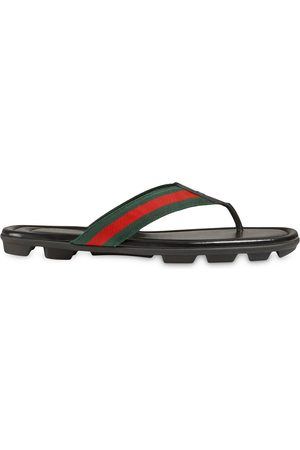 Gucci Men Sandals - Web and leather thong sandal