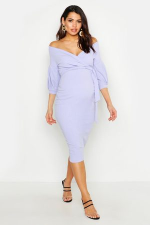 Boohoo Maternity Off The Shoulder Wrap Midi Dress- Lilac