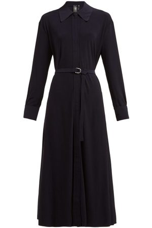 Norma Kamali Tie-waist Jersey Dress - Womens - Navy