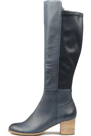 Django & Juliette Setley Navy Boots Womens Shoes Casual Long Boots