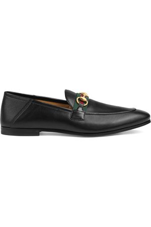 Gucci Men Loafers - Leather Horsebit loafers with Web