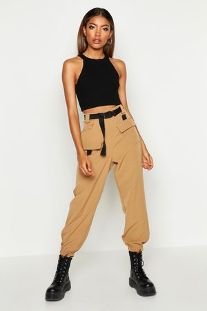 Boohoo Cargo Belted Pants- Camel