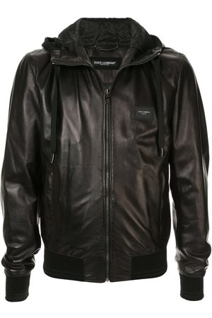 Dolce & Gabbana Hooded leather jacket