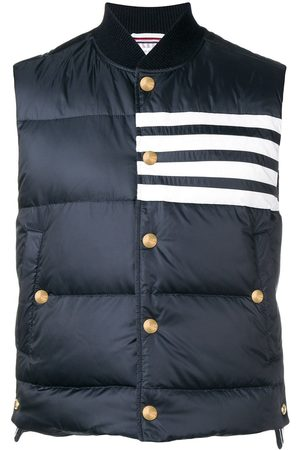 Thom Browne Men Gilets - 4-bar Matte Nylon Down Vest