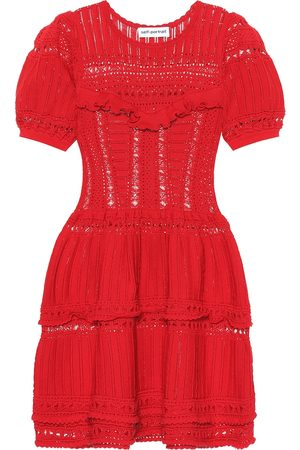 Self-Portrait Knitted Dresses - Lace cotton knit minidress