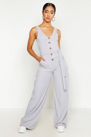 Boohoo Horn Button Ribbed Tie Belt Pocket Jumpsuit