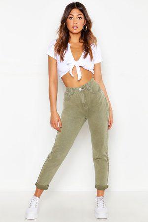 Boohoo Women Jeans - High Waist Distressed Rigid Mom Jeans- Khaki