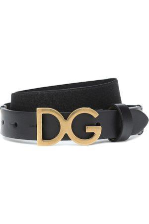 Dolce & Gabbana Logo leather-trimmed belt