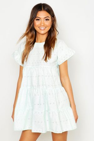 Boohoo Broderie Anglaise Smock Dress- Mint