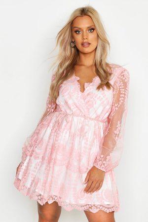 Boohoo Plus Lace Plunge Skater Dress- Blush