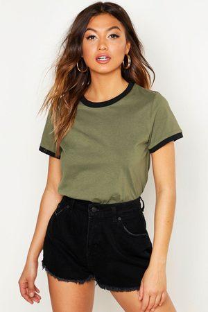Boohoo Ringer T-Shirt- Khaki