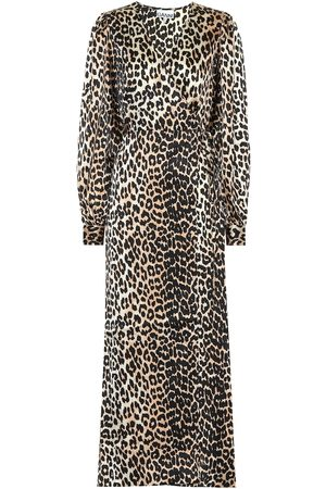 Ganni Leopard-printed stretch-silk dress