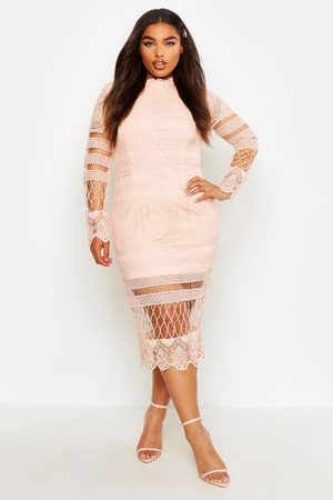 Boohoo Plus Lace Panelled Midi Dress- Blush