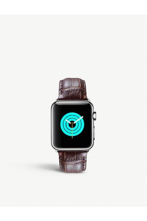 Mintapple Men Watches - Apple Watch alligator-embossed leather strap and stainless steel case 38mm/40mm