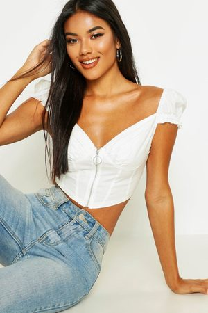 Boohoo Zip Front Peasant Crop Top