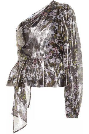 Ganni Floral silk one-shoulder top
