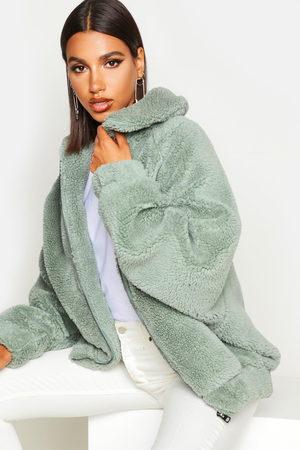 Boohoo Women Bomber Jackets - Oversized Teddy Faux Fur Bomber Jacket