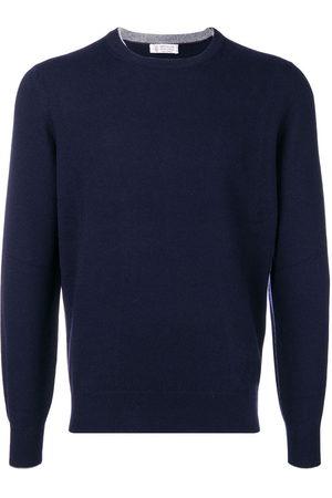 Brunello Cucinelli Men Sweatshirts - Crew neck slim-fit jumper
