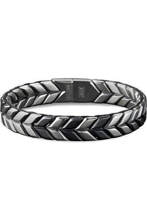 David Yurman Chevron' silver titanium woven effect bracelet