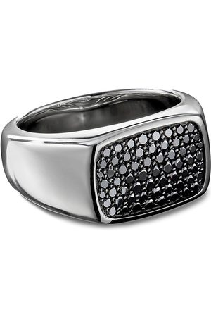 David Yurman Diamond pavé silver signet ring