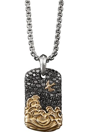 David Yurman Waves' diamond silver 18k yellow gold dog tag pendant